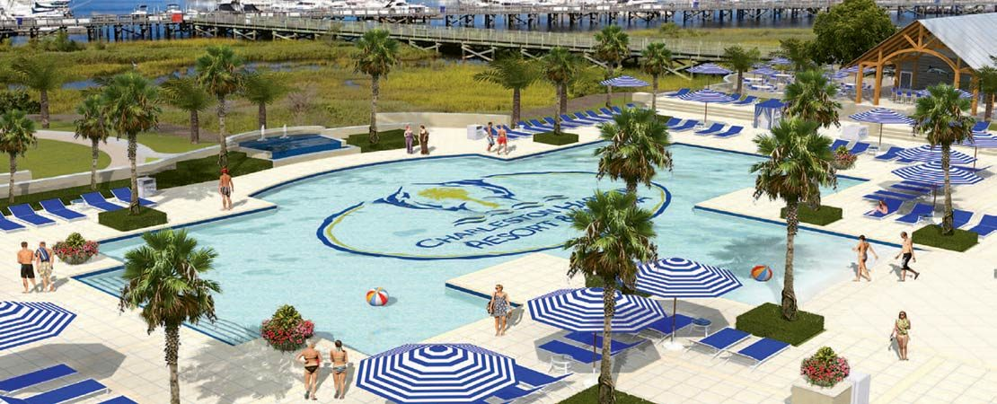 The Charleston Harbor Resort & Marina is a picturesque backdrop for The Beach Club, a state-of-the-art luxury hotel at Patriots Point